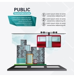 Isolated cable car vehicle design vector image
