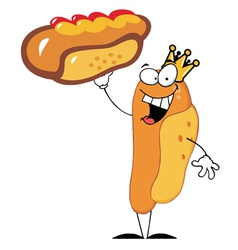 King Hot Dog Cartoon Character vector image