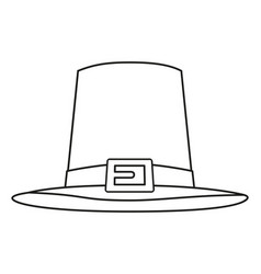 Line art black and white thanksgiving hat vector
