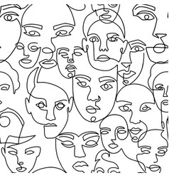 Line art seamless pattern with female portraits on vector