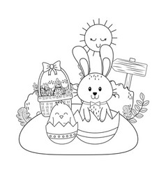 little rabbit and chick with egg painted in the vector image