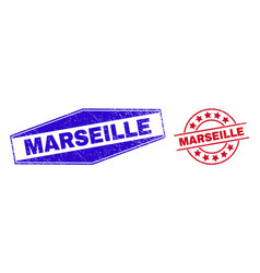 Marseille unclean badges in circle and hexagon vector