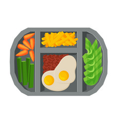 Meal tray filled with fried egg french fries and vector