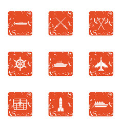 Military industry icons set grunge style vector