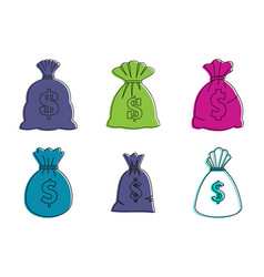 money bag icon set color outline style vector image