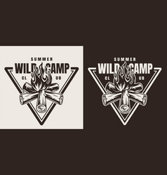 monochrome camping season emblem vector image