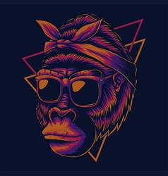 mother gorilla eyeglasses vector image