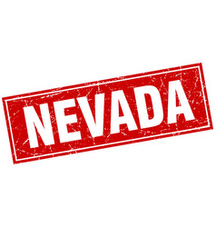 Nevada red square grunge vintage isolated stamp vector
