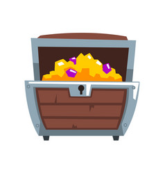 opened wooden treasure chest vector image