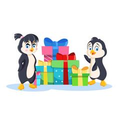 penguin girl and penguin boy near pile of vector image