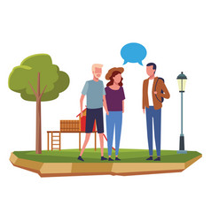 people at park cartoons vector image