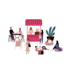 people spending time at street cafe flat vector image
