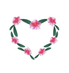 Pink Rhododendron Flowers in A Heart Shape vector image