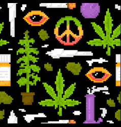pixel art game style medical marijuana objects vector image