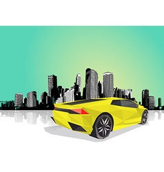 Polygonal sport car with cityscape at the vector