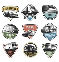 Public and emergency transport logos set vector