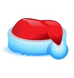 Red Christmas hat with blue trim vector image