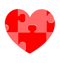 Red heart composed of puzzles vector