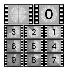retro film countdown frames vector image