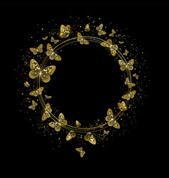 Round banner with golden butterflies vector