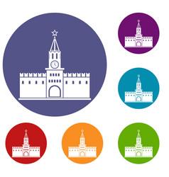 Russian kremlin icons set vector