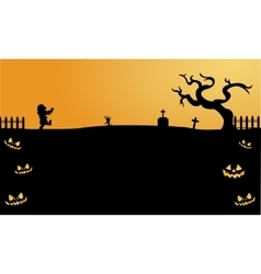 Scary zombie halloween backgrounds silhouette vector