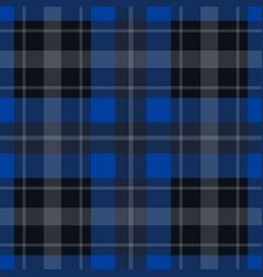 seamless blue black tartan - white stripes vector image