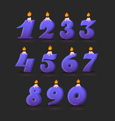 Set colorful birthday candle numbers wick vector