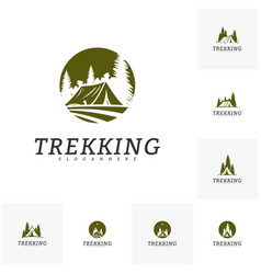set of camping logo template outdoor activity vector image