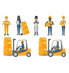 set of industrial workers vector image