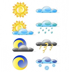 Set weather climate icons vector