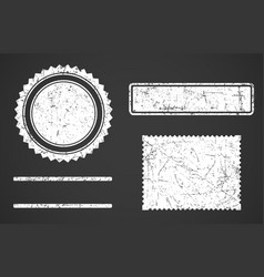 set white grunge stamps template different vector image