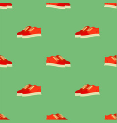 Sport red shoes seamless pattern vector