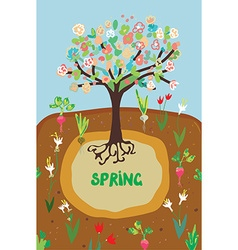 Spring agriculture banner for the garden - flowers vector image