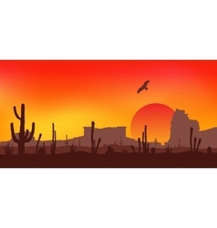 Sunset with Saguaro Cactus Desert vector