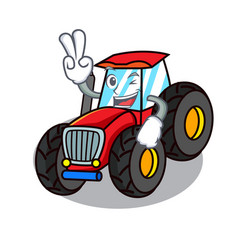 two finger tractor character cartoon style vector image