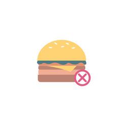 unhealthy food hamburger and prohibition sign flat vector image