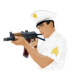 US military with Russian gun vector image