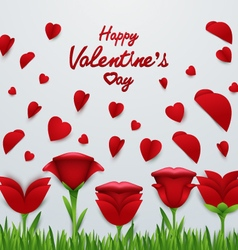 Valentines day background with Roses flower vector image
