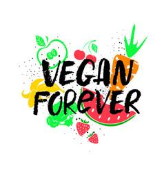 vegan forever hand drawn lettering vector image