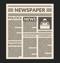 vintage newspaper template vector image