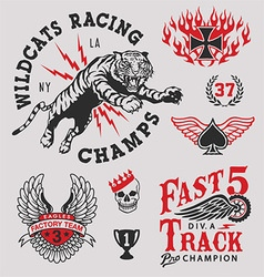 Vintage racing emblem graphics set vector