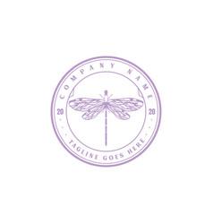 vintage retro hipster dragonfly logo design vector image