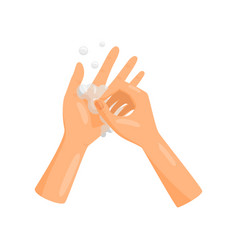 Washing hands and fingernails with soap vector
