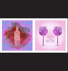 wine tasting card set vector image