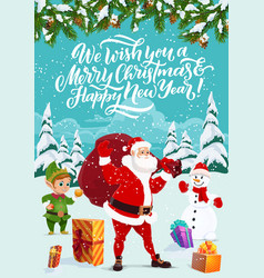 winter holidays santa and elf snowman vector image