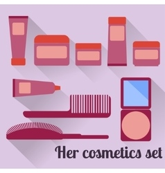 Women s cosmetic set in flat style vector image