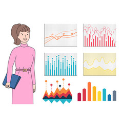 Worker woman and colorful graphs on white vector