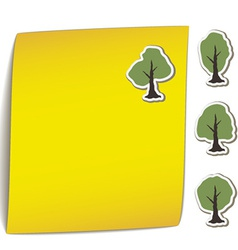 Yellow bend paper with tree magnet vector