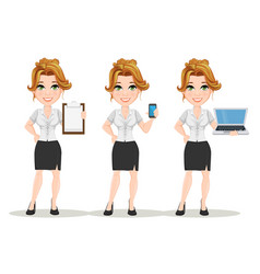 Young cartoon businesswomen set beautiful smiling vector